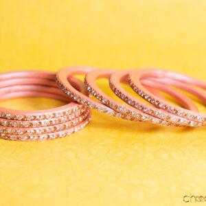 Peach - Plain Lac Choodi with Dual Coloured Stones