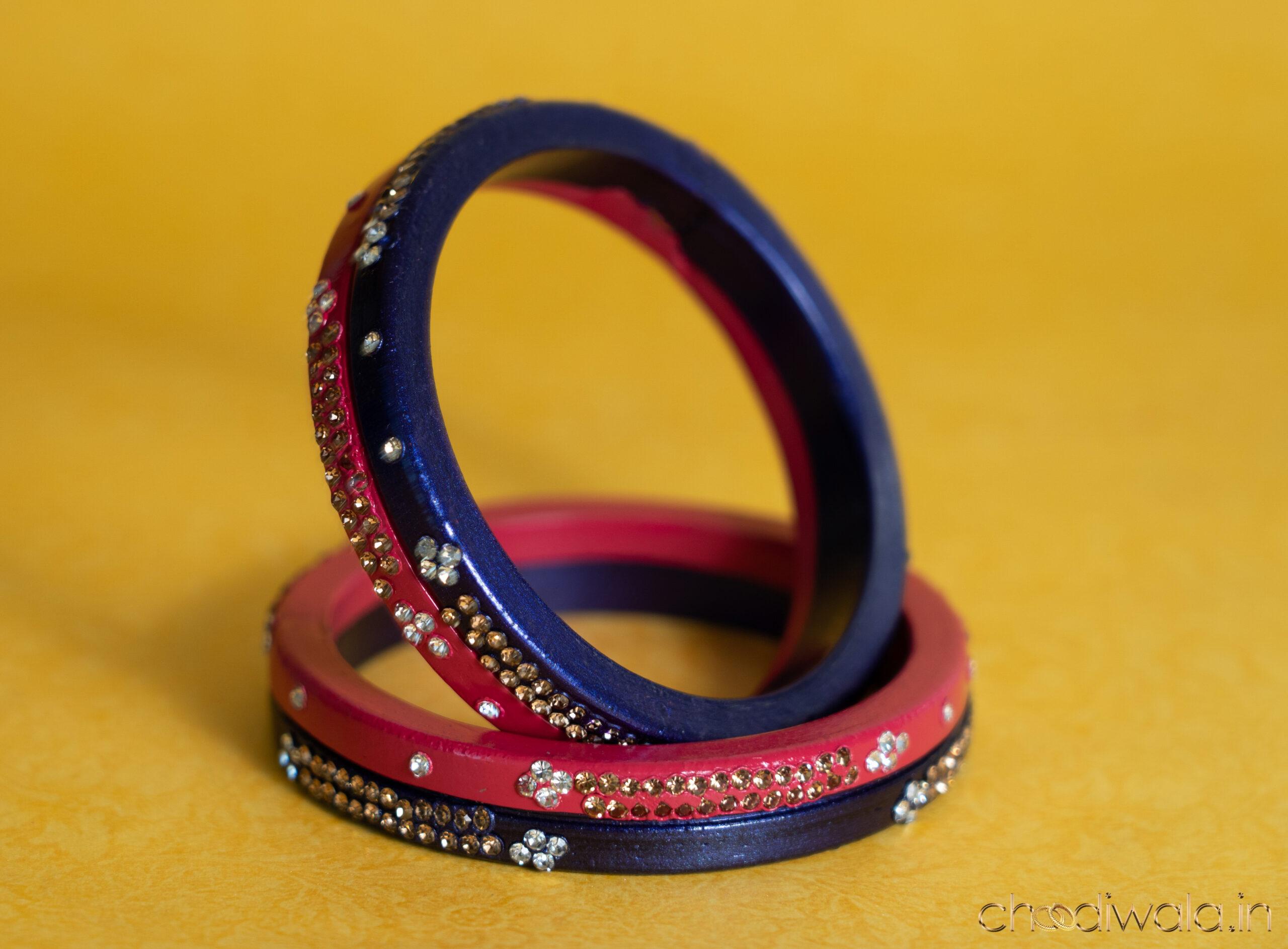 Royal Blue-Dark Pink – 2-in-1 Heavy Double Lac Kada