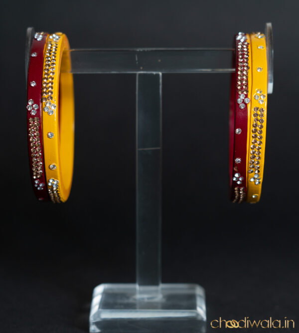 Red-Yellow – 2-in-1 Heavy Double Lac Kada