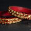 Red - Chain Lac Choodi with Dual Coloured Stones